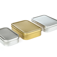 Silver and Gold Rectangular Tobacco Tins