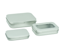 Silver Rectangular Stationery Tins with Hinged Lid