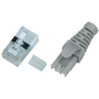 6A-PLG-SH-BT - CAT6a Shielded RJ45 Male Plug Boot Snagless Terminate Strain-relief