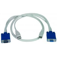 USBVEXT-3   -   VGA USB Extension Cable Device 15HD Type A KVM Gold Plated 3 ft 15HD Male - USB Type A Male - 15HD Female - USB Type A Female White