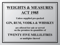 Weights & measures act 1985 sign