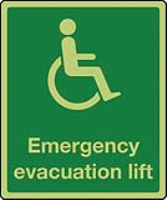Physically impaired Emergency Evacuation Lift sign in photoluminescent