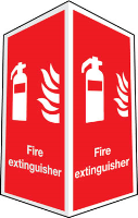 Projecting two sided Fire Extinguisher sign