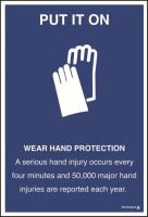 Wear hand protection poster ISO7010 symbol