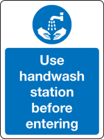 Use hand wash station before entering sign