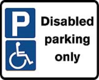 Disabled parking only. 320 x 250mm Class 2 reflective sign