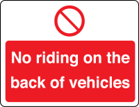 No riding on the back of vehicles sign