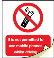 It is not permitted to use mobile phones whilst driving labels