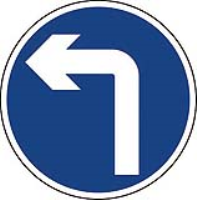 Left turn only. Fig 609. Class 2 reflective sign (CE Certified)