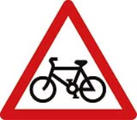 Cycle route ahead triangle. Fig 950. 600mm Class 2 reflective traffic sign