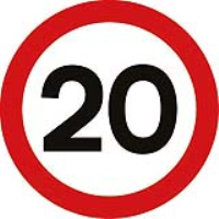 Speed 20mph Fig. 670. Dia class 2 reflective traffic sign (CE Certified)