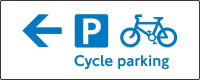 Cycle parking arrow left 500 X 200mm sign