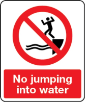 No jumping into water sign