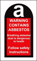 100 S/A labels 27x50mm contains asbestos