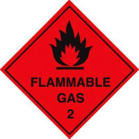 100 S/A labels 100x100mm flammable gas 2