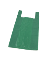 Vest Carrier Bag Green Approx 12x18x24 24 Micron per 1000