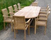 Oval Teak Extending Double Leaf Table Set with Lovina Stacking Chairs