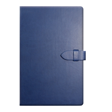 Blue Leather Look Notepad with Clasp Closure