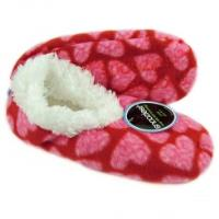 Snoozies! Slippers / Socks - Leopard Hearts - Red