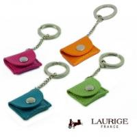 LAURIGE Leather Trolly Coin Key Ring / Sim Card Holder