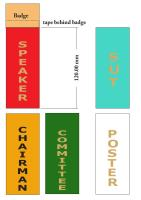 Vertical ribbons for badges, speaker, committee, chairman