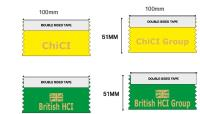 Green and yellow conference ribbons