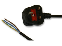 13 Amp Fully Moulded 3 Pin UK Plug to Stripped Bare Ends 2m