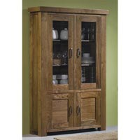 Grand Longford Walnut Glass Cabinet with 4 Doors