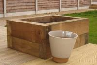 DECKING PATIOS with railway sleepers
