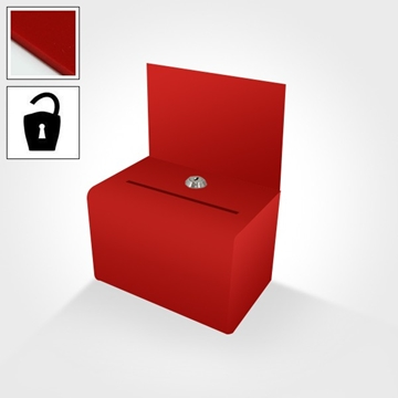 Small red lockable suggestion box