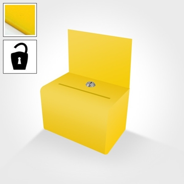 Small yellow ballot or suggestion box with header