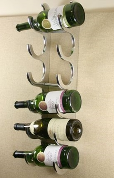 6 Bottle Cast and Polished Solid Aluminium Wall Wine Rack