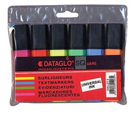 Highlighter Pens with Chisel Tip - 6 Pack of Assorted Colours