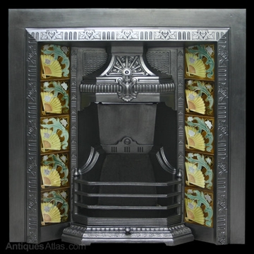 Antique Edwardain Cast Iron And Tiled Fireplace