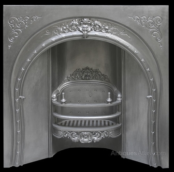Antique Victorian Cast Iron Arched Fireplace