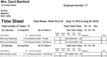 Online Printable Care Staff Timesheets