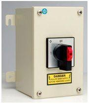 Changeover Switch with Centre Off Painted Mild Steel Enclosure
