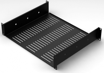 2U 388mm Deep Vented Rack Shelf With Rear Support