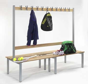 Double Sided Changing Room Bench with Coat Hooks