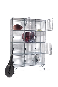 12 Compartment Wire Mesh Lockers With Doors