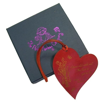 Quality Leather Heart Bookmark - Grow Old With Me!