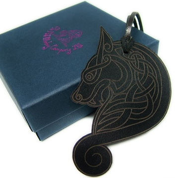 Quality Leather Wolf Bookmark - Celtic Wolf