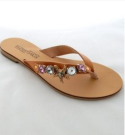 Handmade Leather Sandals with Decorated Natural Straps