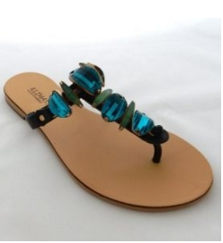 Handmade Leather Sandals with Black Straps and decoration