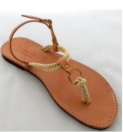 Handmade Leather Sandals with Soft  Cord and Adjustable Ankle Strap