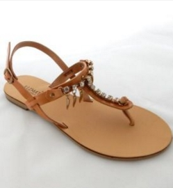 Handmade Leather Sandals with Decoration and Adjustable Ankle Straps