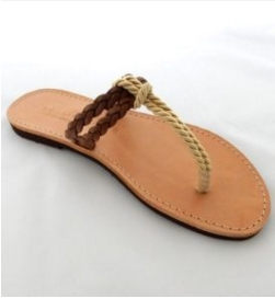 Handmade Leather Sandals with Soft Cord and a Braided Strap