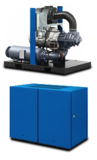 HS screw blower with sound enclosure and FD prepared elmotor