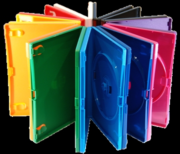 DVDs in standard size coloured DVD cases