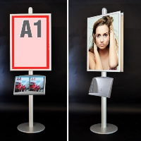 Card Holder & Note Holder New Fashion A3 Adjustable Poster Holder Floor Stand Black Acrylic Frame Advertisement Poster Signage Display Rack Floor Banner Photo Stand Strong Resistance To Heat And Hard Wearing